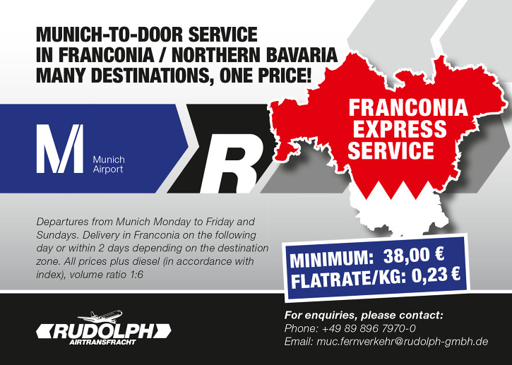 New: flat-rate Munich-to-door service throughout Franconia / Northern Bavaria